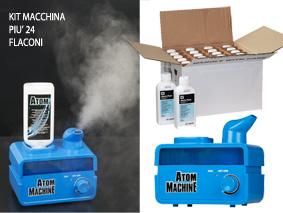 Nebulizzatore Ultrasonico con 48 ApplicazioniATOM MACHINE è un potente nebulizzatore ad ultrasuoni progettato per atomizzare l´appositamente formulato liquido sanitizzante ATOM. I sottili vapori che ne risultano (meno di 5micron) sono distribuiti dal sistema di ricircolo dell´impianto A/C del veicolo per sanitizzare e deodorare completamente l´abitacolo e l´intero sistema di Climatizzazione. ATOM MACHINE viene fornito con 48 trattamenti sanitizzanti da 250ml. Il sistema ATOM MACHINE è un´efficace ed economica soluzione per la sanificazione e la profumazione.CARATTERISTICHE TECNICHE:-    Alimentazione: 220V - 50/60 Hz-    Temperatura di utilizzo: 0 °C ÷ 60 °C-    Tasso di nebulizzazione: ˜ 390 ml /h-    Dimensioni: L170 x P110 x H170 mm-    Peso: 0.7 Kg