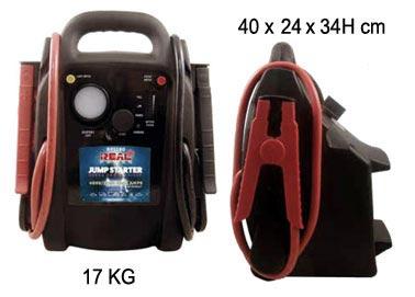 -Tensione di uscita12-24 V.-Ampere di picco4000 A. (12V)-Ampere di picco2000 A. (24V)-Batteria Genesis2X12V 20Ah-Ampere continui1200/600 A.-Caricatore da rete automatico: Input 240 VAC  Output 13.8V 3.3A max.-Cavo accendisigari-Pinze isolate-Diametro cavi: 35 mm-Lunghezza cavi: 85 cm-Protezione sovratensione -Contenitore antiurto ABS-Peso: 17 KG-Dimensioni:  L / H / P 40/34/24 CM