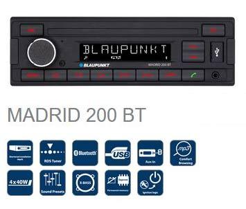 Caratteristiche tecniche- Sintonizzatore RDS- FM (RDS), AM- Comoda scelta dei file- Formati di riproduzione: MP3, WMA- Lettura veloce da USB-- Modalità di visualizzazione selezionabili (file, cartella, titolo, artista, album e ora)- Supporto dati: USB- Display a 9 cifre- Bluetooth integrato (HFP, A2DP)- Microfono integrato- USB anteriore- Ingresso ausiliario anteriore- 4 x 40 watt max.- Preamplificatore a 2 canali- Preset sonori (flat, rock, pop, classica)- X-bass- Illuminazione tasti rossa