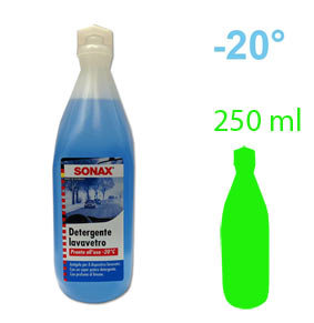 LAVACRISTALLI SONAX VETRI 250 mlDetergente sgrassante antigelo per impianti lavavetro. Diluibile fino a 10 volteProtezione antigelo fino a -20 °C• Detergente specifico per la pulizia dei parabrezza.• Non lascia aloni. Sgrassa la superfice del vetro con la massima efficacia, eliminando sporco ed insetti.• Usato puro, protegge dal gelo l´impianto lavavetri fino a temperature di -22 °C. Potere detergente attivo anche se diluito fino a dieci volte in acqua. Confezione: Flacone Gr./ml: 250 ml