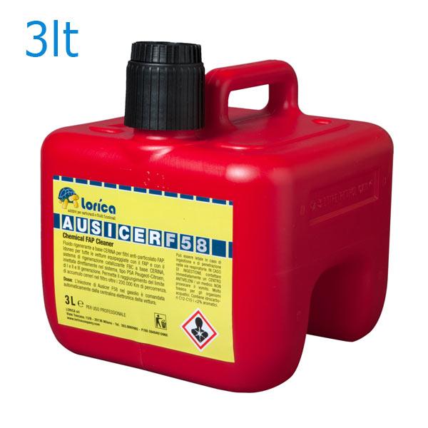 Fluido rigenerante a base CERINA per filtri anti-particolato FAP.Idoneo per tutte le vetture equipaggiate con il FAP e con il sistema di rigenerazione catalizzanteFBC a base CERINA, iniettata direttamente nel combustibile, tipo PSA Peugeot- Citroen, di I e II e III generazione.DESCRIZIONE:AUSICER F 58 è un prodotto specifico per la rigenerazione e la pulizia dei Filtri Anti-Particolato (FAP) dei moderni motori diesel.E´ un additivo avanzato formulato a base di speciali catalizzatori ossigenati per la sintesi dei composti organici e specifici miglioratori di combustione, abbassa il punto di infiammabilità deiresidui carboniosi che si depositano sul corpo filtrante di ogni tipo di sistema FAP e cos compromettendo sia la buona efficacia dei sistemi filtranti che il buon funzionamento del motore. Confezione: Latta Gr./ml: 3000 ml
