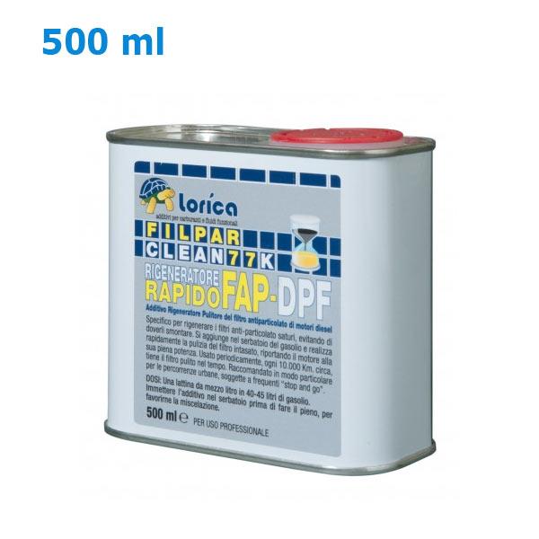 DESCRIZIONE:FILPAR CLEAN 77K è un avanzato composto chimicoliquido per motori Diesel che, aggiunto al gasolio,realizza la rapida rigenerazione del filtro antiparticolatointasato, ne mantiene la pulizia riducendoconseguentemente l´emissione di polveri sottili.APPLICAZIONI:FILPAR CLEAN 77K è idoneo per tutti i motori diesel,equipaggiati con filtro anti-particolato ed è efficace siacon il Diesel convenzionale che con il Bio-Diesel.UTILIZZO:FILPAR CLEAN 77K va miscelato all´1% (uno percento) con il carburante. Per favorire una miglioremiscelazione, si consiglia di immettere FILPAR CLEAN77K direttamente nel serbatoio prima di procedere alpieno.Esempio pratico: una lattina da mezzo litro serve perun pieno di circa 50 litri. Confezione: Latta Gr./ml: 500 ml