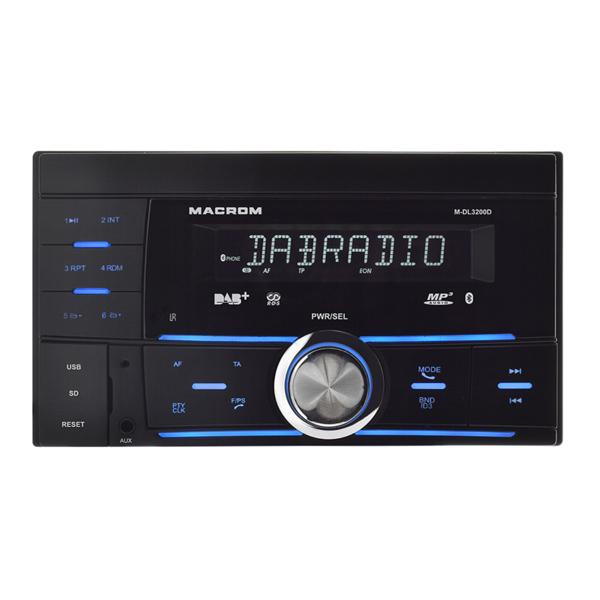 Descrizione:- Dot Matrix LCD con fondo nero- Illuminazione comandi multicolore- Viva voce Bluetooth- Audio streaming Bluetooth- Tuner DAB integrato (antenna DAB inclusa)- Lettore di musicale USD /SD- Ingresso audio ausiliarioRicevitore radio FM/AM completo di lettore USB e SD card per la riproduzione di file musicali audio.Grazie ai comandi con illuminazione multicolore si integra al meglio con gli interni di tutte le vetture.Pronto per la ricezione della radio digitale DAB/DAB+Specifiche tecniche- Dimensione 2 ISO (97 x 170)- Comandi con illuminazione multicolore- Equalizzatore con effetti CLASS-POP-ROCK-FLAT- Tuner RDS con bande FM e AM e DAB- 18 preset FM, 12 preset AM + preset DAB- Viva voce Bluetooth con microfono esterno- Audio streaming Bluetooth in protocollo A2DP- Media supportati: USB/SD- Formati supportati: MP3/WMA- Uscite posteriori preamplificate- 1 ingresso ausiliario Jack da 3,5mm- Amplificazione interna 4x40 WattFunzioni- Radio AM/FM con RDS e TP ed RT- Radio DAB/DAB+- Lettore memorie USB/SD- Viva voce Bluetooth- Audio streaming Bluetooth- Gestione comandi volante integrata per vetture con protocollo resistivo