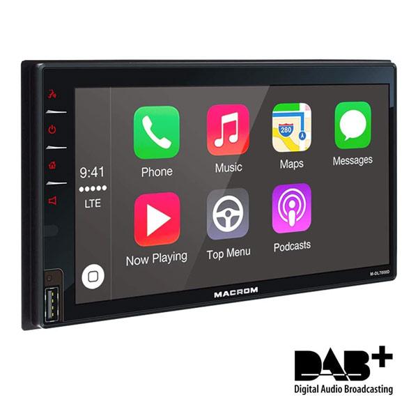 DESCRIZIONE:MACROM M-DL7000D 2 DIN CARPLAY Monitor da 6,8 pollici con CarPlay, Android Auto e navigazione online Dedicata a chi desidera una perfetta integrazione dello smartphone con il sistema di infotainment. M-DL7000D permette di collegare tramite la presa USB posteriore, gli smartphone di ultima generazione mediante CarPlay ed Android Auto. Completo di ricevitore DAB/DAB+, Navigazione On-line, telefono, musica e molto altro vengono gestiti con comodit… e con la sicurezza dai comandi vocali.IL TUO COPILOTA PREFERITO CarPlay è il modo più avanzato per collegare un iPhone al tuo sistema di entertainment Macrom. Permette l´accesso ad una varietà di funzioni dello smartphone come musica, messaggistica e navigazione. L´iPhone pu• essere controllato attraverso la voce, o attraverso l?interfaccia utente del nostro prodotto. CarPlay va ben al di là quanto fatto in precedenza con un interfaccia utente ´eyes-free´ che usa l´assistente vocale di Apple, Siri, accessibile con un tocco del pulsante di controllo vocale per la maggior parte delle funzioni LASCIATI GUIDARE.... Android Auto porta le applicazioni più utili del tuo telefono Android al sistema di entertainment Macrom, in un formato che ti permette di rimanere concentrato sulla guida. E´ possibile controllare navigazione, chiamate, messaggi di testo e musica con l´assistente vocale, accessibile semplicemente pronunciando ´OK Google´. Android Auto supporta Google Maps. FUNZIONI - Radio AM/FM con RDS, TP ed AF - Radio DAB/DAB+ - Lettore memorie USB posteriore - CarPlay (USB frontale) - Android Auto (USB frontale) - Viva voce Bluetooth con rubrica - Audio streaming Bluetooth - Ingresso video per telecamera posteriore - Predisposto per comandi volante (protocollo resistivo) - Doppia illuminazione rosso/bianco SPECIFICHE TECNICHE - Dimensione 2 ISO (93 x 172 mm) - Touch screen WVGA da 6,8 pollici capacitivo - Formati audio supportati: MP3/WMA/Flac - Equalizzatore grafico- Controllo livello e frequenza di taglio subwoofer-