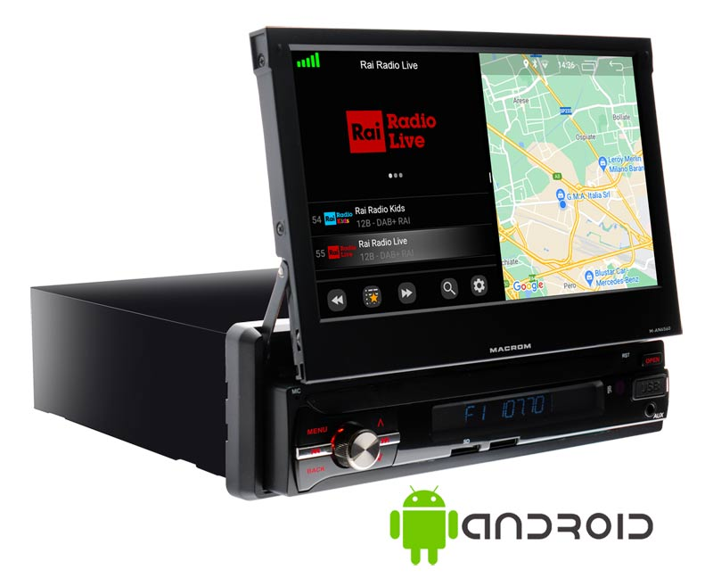 DESCRIZIONE: Monitor multimediale Android. Soluzione all in one 1 DIN con schermo 7 pollici motorizzato basato sul sistema operativo Android 9.0.Per chi preferisce la tradizionale navigazione con cartografia off-line, M-AN6560 può essere equipaggiata con la Mappa Europa (43 paesi) -Nota bene il software per la navigazione off-line va acquistato separatamente.FUNZIONI:Sintonizzatore FM/AM con RDSDAB+ optionalRicevitore GPS integratoNavigazione OnlineNetwork & WI-FI- HotspotViva voce BluetoothA2DP music streamingLettore di memoria USB (frontale e postriore)Lettore di micro SD frontaleSistema multilinguaIlluminazione RGBGUI selezionabile a 7 coloriLogo di benvenuto personalizzatoSWC programmabile integratoIngresso telecamera posterioreIngresso fotocamera frontaleSPECIFICHE:Sistema operativo Android 9.0CPU Quad Core ARM A7 4*1.2 GHzMemoria RAM 2GB DDR3Memoria Flash 167 Display capacitivoRisoluzione 1024*600 pixelsAmplificatore 4*45W Mosfet Output2 uscite audio preamplificate1 uscita subwoofer preamplificataEqualizzatore grafico a 9 bande1 Ingresso audio video2 uscite videoIngresso telecamera posterioreIngresso fotocamera frontaleFormato musica: MP3 WMA AAC RM FALC etcFormato video: MPEG-1/2/4 H264?H263 VC1 RV RMVB DivX Sorenson SparK, Spark VP8 AVS Stream