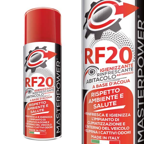 DESCRIZIONE:Igienizzante e deodorante spray al profumo di vaniglia per superfici ed ambienti, ideale per igienizzare ogni tipologia di abitacolo, stanza, camper e altri ambienti chiusi.Trattamento non tossico a base acqua, formulato per l'eliminazione di cattivi odori è esente da agenti che potrebbero causare danni alla salute.RF20 è inoltre privo di biocidi.Spray con erogatore ad innesco ideato per lo svuotamento totale, una volta premuto fino in fondo eroga autonomamente il contenuto fino al completo svuotamento della bomboletta.Su cabine:Dopo la pulizia dell'abitacolo accendere l' impianto di condizionamento avendo cura che porte e finestrini siano chiusi e che l'accendisigari sia spento.Accendere l'aria condizionata o il climatizzatore, portare la la ventola al massimo e attivare il ricircolo, dopodiché agitare bene la bomboletta di RF20 appoggiarla sul tappetino del conducente in posizione verticale direttamente verso il tettuccio dell'abitacolo, premere l' erogatore fino in fondo e uscire dall'auto e chiudere la portiera.A trattamento finito attendere 15 minuti, dopodiché areare l' abitacolo prima di salire a bordo.Per ambienti:Per ambienti quali Camper, stanze, cantine e altro, pulire l' ambiente, chiudere porte e finestre, agitare bene la bomboletta di RF20 e appoggiarla se possibile a terra e al centro dell'ambiente, premere fino in fondo l'erogatore, a fine trattamento aspettare almeno 15 minuti prima di areare.