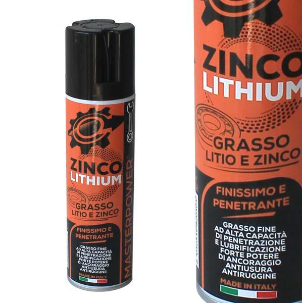 APPLICAZIONIGrasso spray allo zinco-litio.Grasso lubrificante arricchito di zinco e litio per proteggere le parti metalliche dalla corrosione.Resistente alle alte temperature con ottima capacità di penetrazione e con alto potere lubrificante.Ottima resistenza alle pressioni, alle soluzioni acide, alla nebbia salina.Protegge dalle ossidature.Ottimo per impiego nautico.Seguire le istruzioni riportate sul flacone.