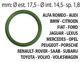 KIT 25 pz  O-RING aria condizionata in HnbrALFA ROMEO, AUDI, BMW, CITROEN, FIAT, FORD, HONDA, JAGUAR, LEXUS,MERCEDES, OPEL, PEUGEOT, RENAULT, ROVER, SAAB, TOYOTA, VOLVO, VOLKSWAGEN