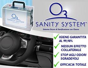 IGIENIZZANTE AUTO & AMBIENTE SANITY SYSTEMSistema completo di sanifcnazione ad OZONOIdeale per piccoli ambienti , auto e caravan, permette di tenere sotto controllo e ridurre la carica microbica a livelli minimidi sicurezza, inoltre permette l´eliminazione di tutti gli odori sgradevoli di origine organica e inorganica.**IL  PRODOTTO VIENE FORNITO SOLO CON  CANONE NOLEGGIO MENSILE, CONTATTARE IL VOSTRO AGENTE DI ZONA** Vedere allegati per ulterioi informazioni tecniche.