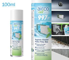 Airco well® 997Pulitore igienizzante per climatizzatoriSpeciale detergente igienizzante per la scatola del filtro abitacolo e dei condotti dell´aria adiacenti. Lascia una frescae gradevole profumazione all´interno dell´abitacolo.Caratteristiche:- Igienizza la scatola del filtro abitacolo e i condotti dell´aria adiacenti- Inibisce la riproduzione di microorganismi (per es. funghi e batteri)- Pulisce in modo ecocompatibile e rispettoso- Ottimo effetto pulente grazie alle eccellenti caratteristiche umidificantiArea di applicazione- Per l´igienizzazione della scatola del filtro abitacolo e dei condotti dell´aria- Ad ogni sostituzione del filtro abitacoloIstruzioniLeggere la Service Information SI 997. In occasione della sostituzione del filtro abitacolo, nebulizzare lasostanza nel vano filtro/evaporatore e nei condotti dell´aria dell´impianto di climatizzazione. Applicazioneottimizzata grazie alla sonda in dotazione. Confezione: Aerosol Gr./ml: 100 ml