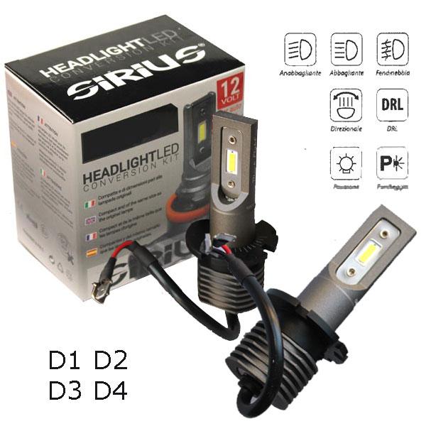Con la nuova gamma Sirius, siamo riusciti in un´impresa impossibile: realizzare lampade LED per fari di proiezione senzaalcuna centralina esterna, senza ventola e senza dissipatore.Il risultato è una lampada con dimensioni pressochè identiche ad una normale lampada ricambio alogena.- Dimensioni pari all´originale- Senza dissipatore e senza centralina Base: D1-D2-D3-D4 Volt/Watt: 9-18V 13W